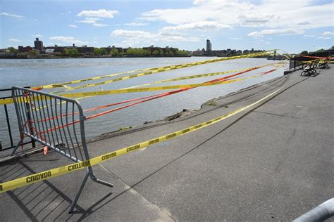 nypd barrier section a walk in the park east river seawall collapses near