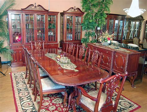 Chippendale Dining Room Furniture 11pc Mahogany Dining Room Set Chippendale China Buffet Ebay
