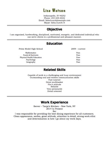 Restaurant Hostess Resume Examples by 12 Free High Student Resume Examples For Teens