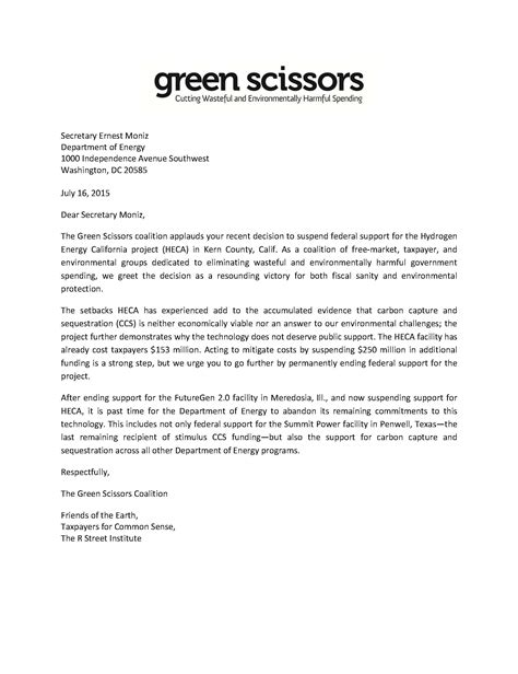 Letter For Project Funding Letter To Doe Keep Cutting Ccs Funding Taxpayers For Common Sense