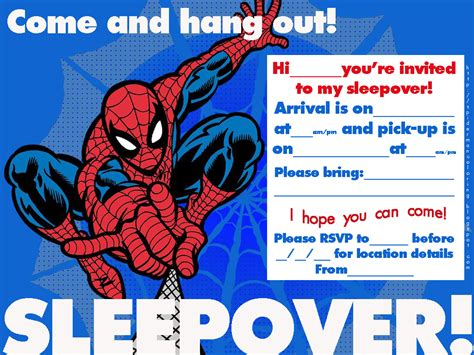 printable spiderman birthday invitation designs spiderman coloring spiderman sleepover invitations to