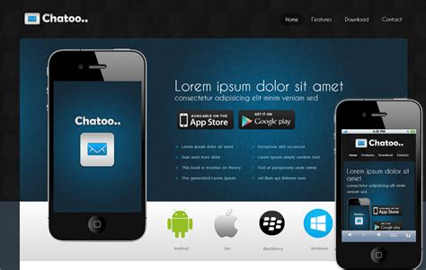free mobile site templates chatoo a application mobile website template by w3layouts