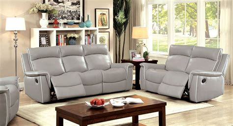 Lightweight Living Room Furniture Salome Light Gray Recliner Living Room Set Cm6798 Sf Furniture Of America