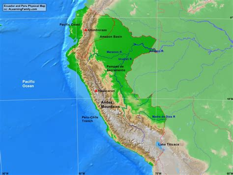 physical map of ecuador ecuador and peru physical map a learning family