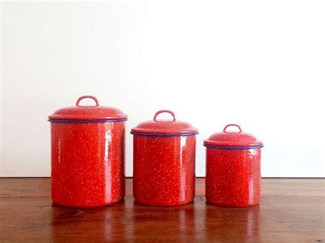 red kitchen canister red enamel canister set of 3 red canister set kitchen