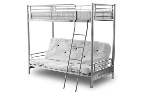 Metal Bunk Bed Frame With Futon Alaska Silver Metal Frame Futon Bunk Bed With Sofa Bed At Bottom Ebay