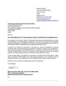 Draft Cover Letter For Application cover letter comments on the exposure draft of the national code of