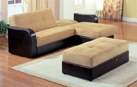 couch and bed light brown l shaped couch bed with black leather base