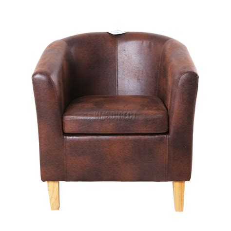 armchair tables foxhunter vintage brown faux leather tub chair armchair