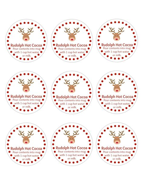 Printable Reindeer Hot Chocolate Labels | diy rudolph hot cocoa holiday gifts free printable tags