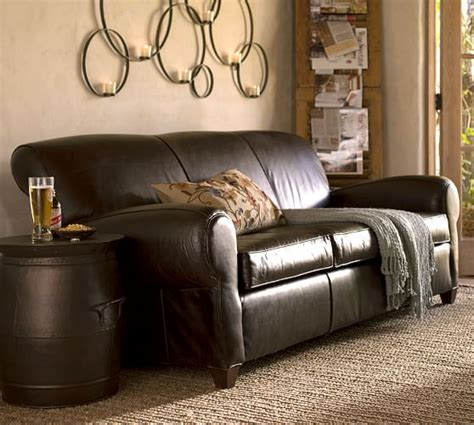 Manhattan Leather Sofa by Manhattan Leather Sofa Pottery Barn