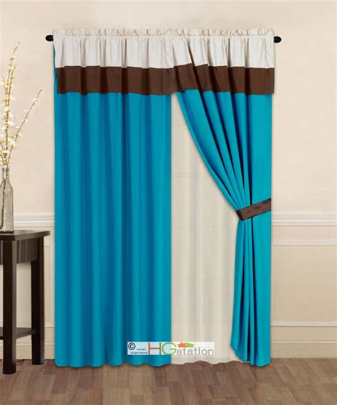 turquoise and beige curtains 4 pc striped solid modern curtain set turquoise brown