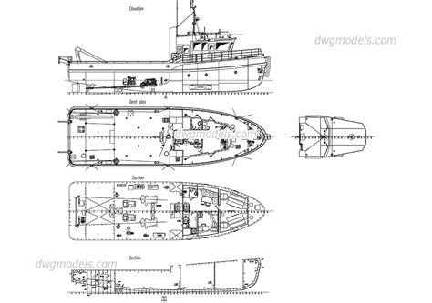 tugboat dwg tugboat cad block free download autocad file