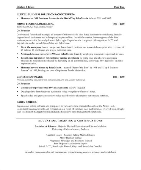 free sle resumes templates sales executive page2 marketing resume sles