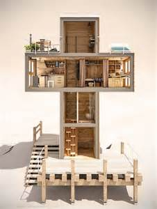 650 Square Feet Floor Plan off grid cruciform container micro home serves as