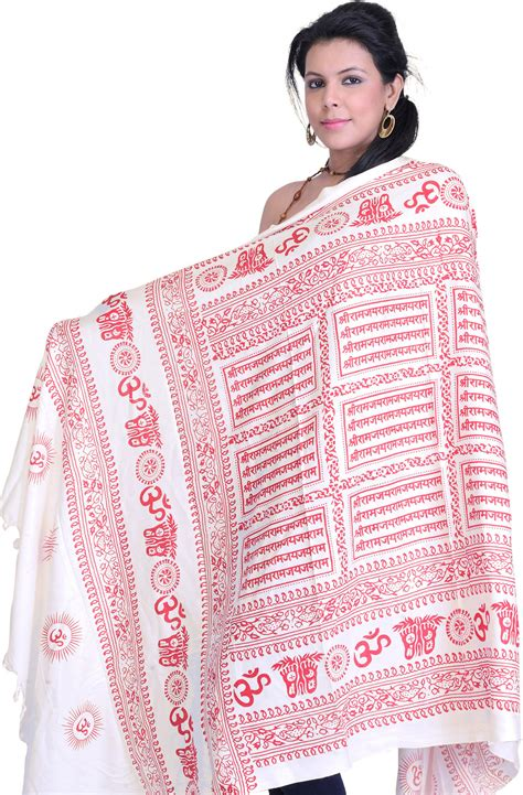 shree ram jai ram jai jai ram mantra hindu prayer shawl with printed sri ram jai ram jai jai