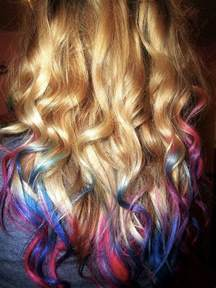 hair with colored tips curly dip dyed blue and pink hair colors ideas