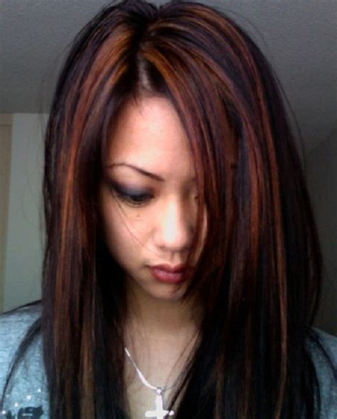 partial red highlights on dark brown hair partial highlight for dark hair fashionsfame com