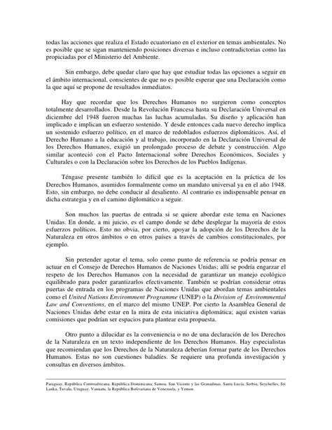 declaracion juramentada derecho ecuador hacia la declaraci 243 n de los derechos de la naturaleza