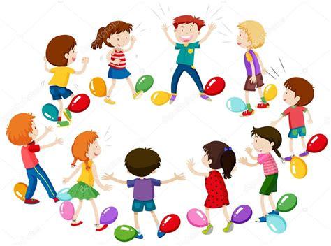 imagenes de niños jugando con globos ni 241 os juego de reventar globos vector de stock