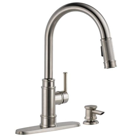 buying a kitchen faucet delta allentown single handle pull sprayer kitchen faucet with soap in spotshield stainless