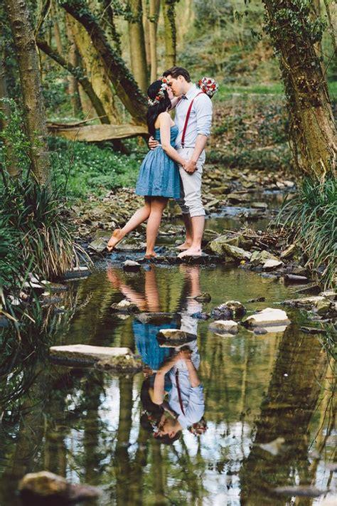 springtime engagement   woods junebug weddings