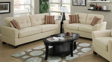 poundex f792223 banboo fabric sofa and loveseat set