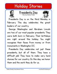 reading comprehension worksheet presidents day