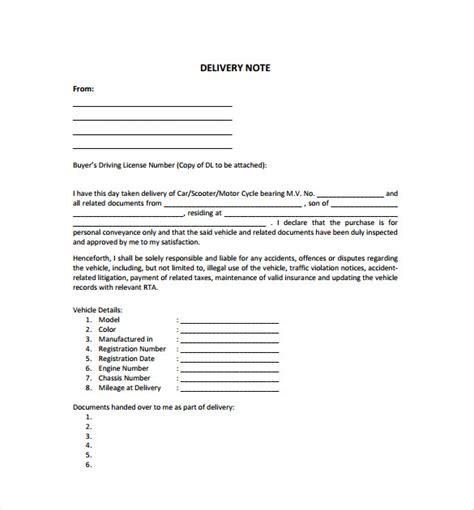 shipping and delivery policy template delivery note template 22 free word pdf format