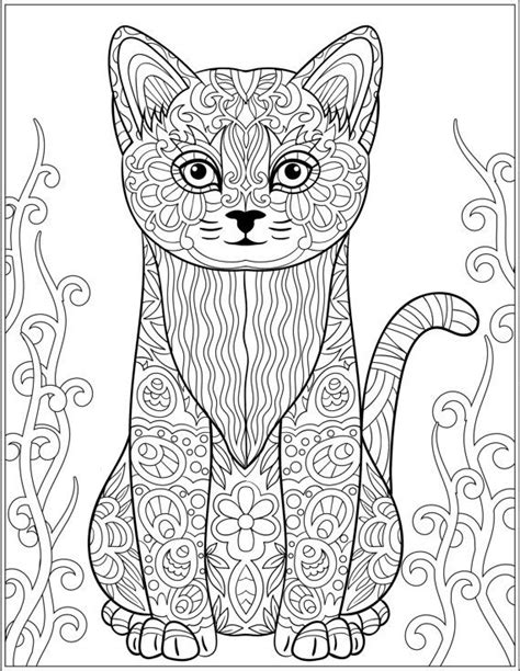 cat zentangle coloring page cat stress relieving designs patterns adult by