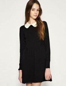 simple casual womens black mini dresses long sleeves cute