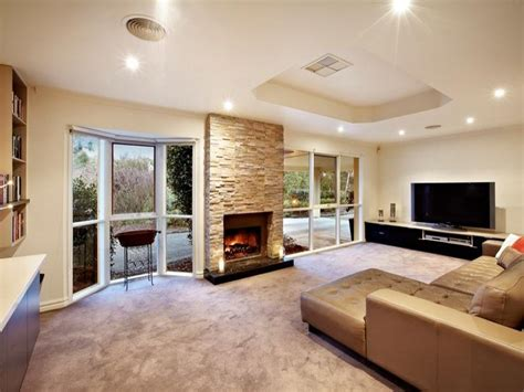 living area ideas open plan living room using brown colours with stone