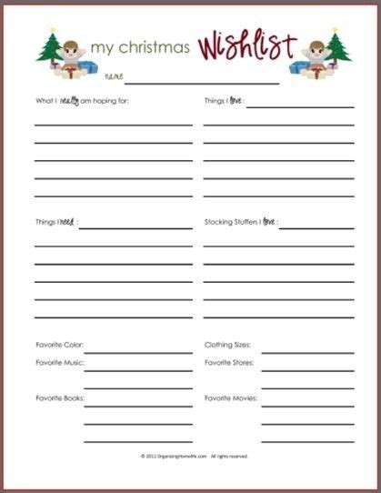 gift exchange list template printable wish list template world of exle