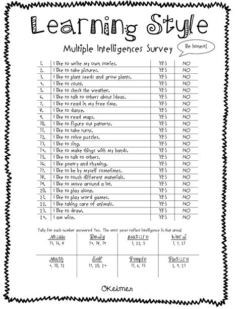 printable learning styles questionnaire all about me activities a multiple intelligences