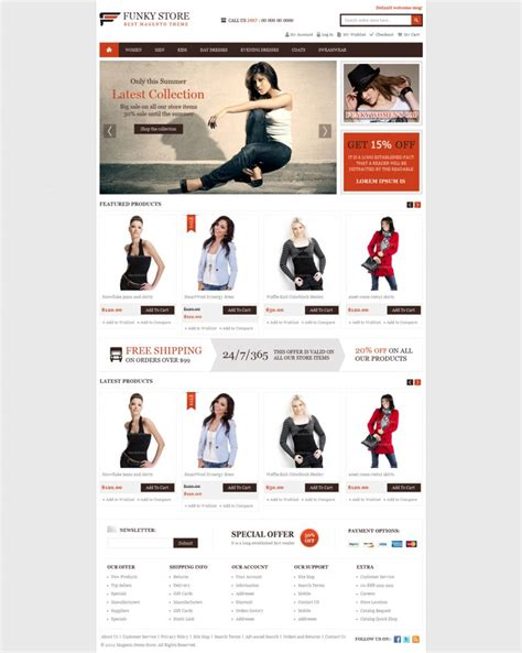 Magento Funky Store E Commerce Template By Themevilla On Deviantart Magento 2 Homepage Template