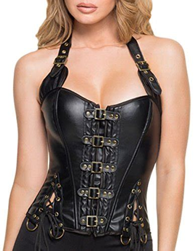 2017 new turquoise and silver halterneck fashion corset tops lace up brocade bustier dear lover s buckle up steunk corset medium black 2 buy