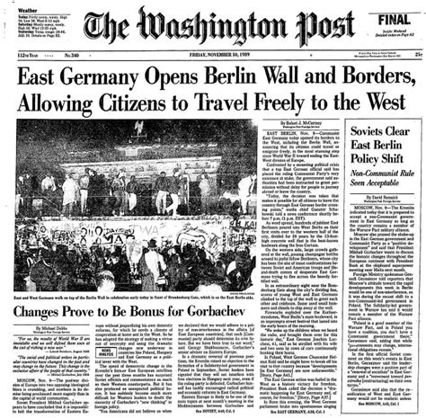 berlin wall newspaper how the post covered the fall of the berlin wall 25 years