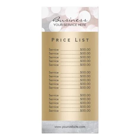 salon price list template price list modern silver gold salon spa rack