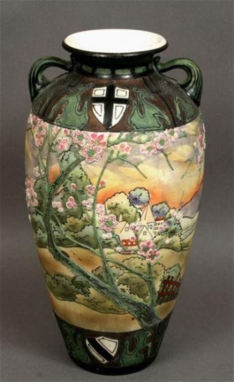 Nippon Vase Value by Early 20th Century Painted Nippon Vase With 1700274