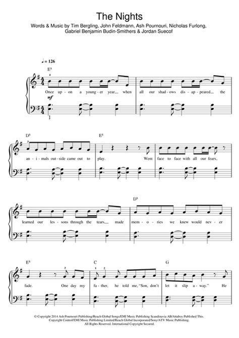 avicii you make me sheet music avicii the nights sheet music