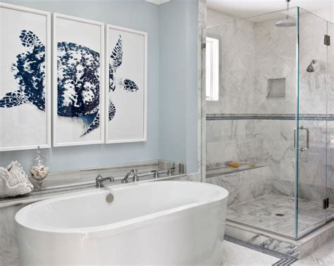 bathroom ideas with framed turtle wallpaper