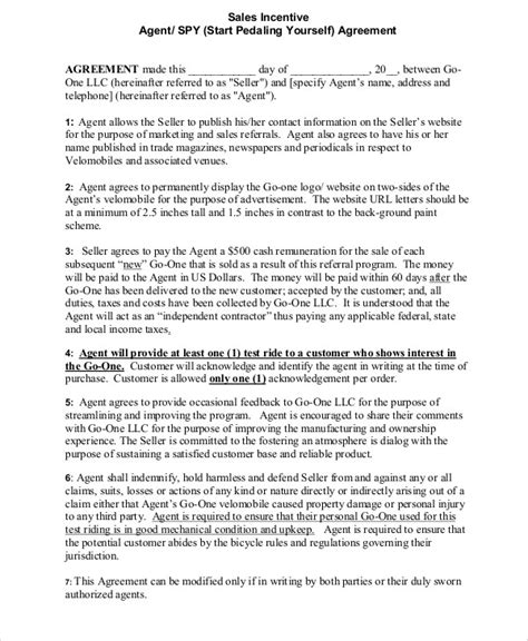incentive template 9 incentive agreement templates free sle exle