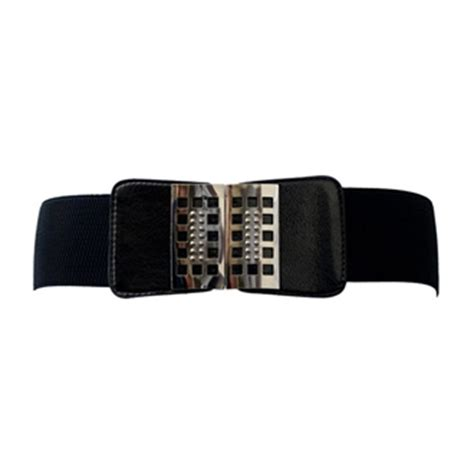 plus size metal buckle wide elastic belt evogues apparel