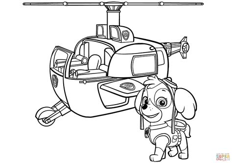paw patrol skye s helicopter coloring page free
