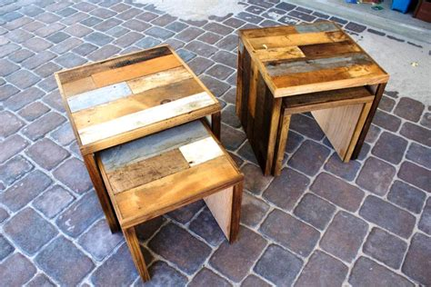 reclaimed wood nesting tables new furniture
