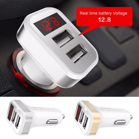 Car Charger Wellcom 1 2 2 1a dual usb port digital led voltage current display car charger charging adapter for iphone