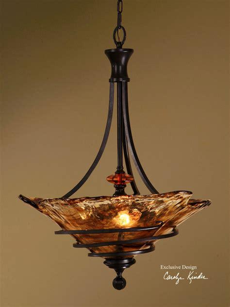 Light Fixture Pendant 30 Quot Wrought Bronze Metal Mini Pendant Ceiling Fixture Light Made Glass Ebay