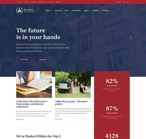 Ja Alumni Download Responsive Alumni University Joomla Template Alumni Database Template