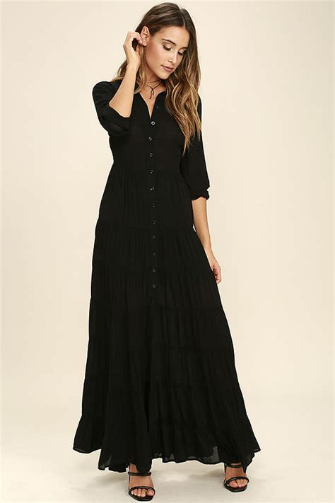 Maxi Bohemian Dress Alia Black boho dress black dress maxi dress sleeve dress 74 00