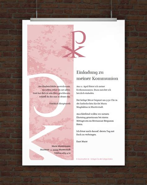 Vorlagen Kostenlos Herunterladen Drucke Selbst Kostenlose Einladung F 252 R Kommunion Und Firmung